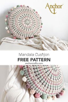 Make a simple crochet mandala pillow with our free crochet pattern. Make a simple crochet mandala pillow with our free crochet pattern. Motif Mandala Crochet, Crochet Feather, Crochet Yarn, Easy Crochet, Free Crochet, Doilies Crochet, Blanket Crochet, Crochet Granny, Crochet Cushion Pattern Free