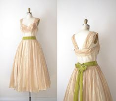 1950s Party Dress / 50s Sheer Gold Prom Dress / by FemaleHysteria, $235.00