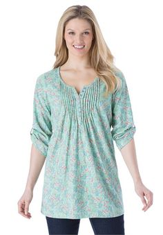 Tunic top with graduated pleats, floral print, Henley neck | Plus Size Tops | Woman Within