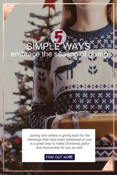 5 ways to embrace the season of giving. Joining with others in giving back back for the blessings that have been bestowed on you is a great way to make Christmas joyful and memorable for you, too. Find out how atgrandmasplace.com