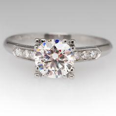 Near 1 Carat Vintage Diamond Engagement Ring Platinum
