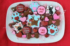 Valentine's day doggie-themed sugar cookies. A Sprinkle of Sunshine.