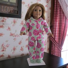 Ladybug Flannel Pajamas for American Girl Doll. by AmericAnnMade