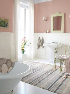 Country Bathroom Ideas For Small Bathrooms Concept Pictures : Breathtaking Country Bathroom Ideas Simple Mirror White Sink Wall Art Gallery Pink Paint Wall Area Rug White Bathroom Curtain Green Chair White Bathtub
