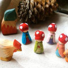 Custom Seasonal Teeny Tiny Mini Mushroom Cap Gnome Waldorf Inspired Storytelling dollhouse doll