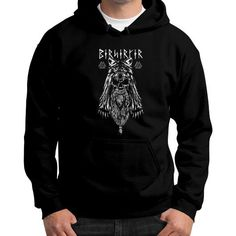 Viking Berserker Gildan Hoodie (on man)