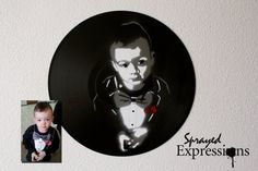 Custom Child Portrait Spray Paintings on Upcycled Vinyl Record Made to Order Spray Paint Artwork, Spray Paint Colors, Spray Painting, Spray Paint Techniques, Painting Techniques, Photo Proof, Cute Baby Animals, Vinyl Records, How To Memorize Things