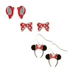 Minnie Mouse Glitter Stud and Drop Earrings Set of 3 @ Claire's.