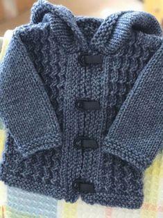 Boys Knitting Patterns Free, Baby Cardigan Knitting Pattern Free, Baby Sweater Patterns, Knitted Baby Cardigan, Knit Baby Sweaters, Knitted Baby Clothes, Knitting For Kids, Easy Knitting, Knit Patterns