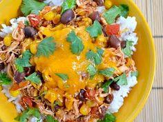 Crockpot taco chicken bowls