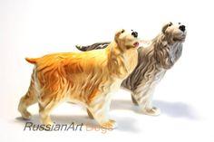 English Springer (Cocker) Spaniel dog porcelain figurine handmade  statuette by RussianArtDogs on Etsy
