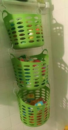 These baskets and the plastic shower curtain hoops holding them together are dollar tree finds!