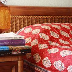 Spice Route ~ Unique Red Orange Luxury Moroccan Quilt Bedspread $149.99