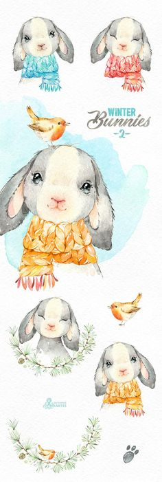 This Winter Bunnies - 2 set of 11 high quality hand painted watercolor images. Perfect graphic for christmas holiday, wedding invitations, greeting cards, photos, posters, quotes and more. ----------------------------------------------------------------- This listing includes: 10 x