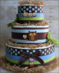 The Little Hoot Cake.  Owl Diaper Cake.  Blue And Brown Baby Shower Centerpiece