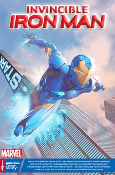 Men's Health: Exciting Help for Prostate Cancer Patients Goes High Tech Invincible Iron Man American Cancer Society variant by Jamal Campbell - Marvel joins forces with the American Cancer Society to promote cancer awareness.