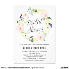 "Pastel Floral Wreath Bridal Shower Invitation 5"" X 7"" Invitation Card"