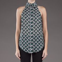 10 CROSBY DEREK LAM Top Double collar sleeveless top in kelly green from 10 Crosby by Derek Lam. This silk-blend top features a removable collar, front button closure and a curved hem. - Size 10 (Fits M-L) - 45% silk/ 55% wool   NO Trades. Please make all offers through the offer button. 10 Crosby Derek Lam Tops Blouses