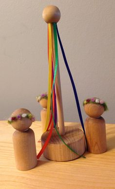 Peg Dolls with Maypole and Needle Felted Flower by beeswaxandwool, $20.00