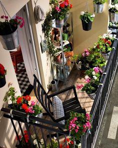 um, dois, três...enfim, inúmeros vasinhos de flores deixam a varanda mais bonita