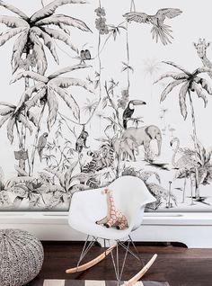 Beautiful Jungle Mural Wallpaper Design Ideas For Kids Room Watercolor Wallpaper, Wallpaper Size, Kids Wallpaper, Wallpaper Jungle, Unique Wallpaper, Boy Room, Kids Room, Black And White Wallpaper, Black White