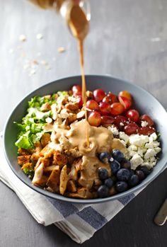 Healthy chicken salad with almonds, fruit and honey mustard