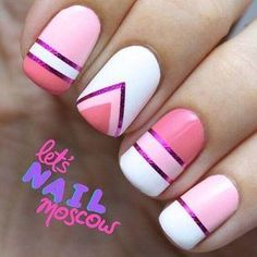 you should stay updated with latest nail art designs, nail colors, acrylic nails, coffin… Nail Art Stripes, Striped Nails, White Nails, Pink Nail, Pink Stripes, Simple Nail Art Designs, White Nail Designs, Love Nails, Pretty Nails