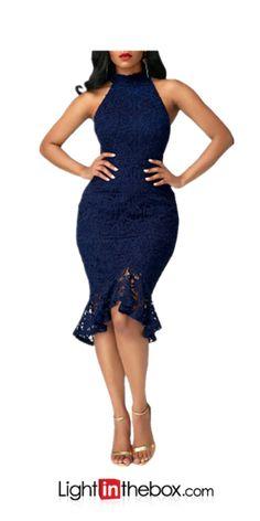 adc1f1e45318   26.09  Women s Ruffle Party Club Street chic Bodycon Dress - Solid  Colored Lace Ruffle Crew Neck Summer Blue Black Wine L XL XXL   Skinny
