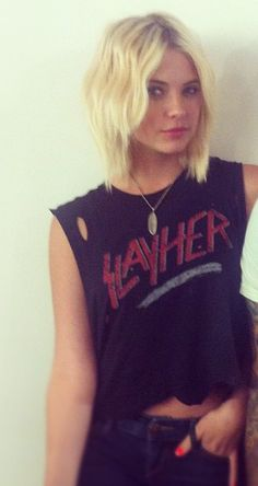 Ashley Benson. Blonde. Short. Waves. Be supa cute with bangs too