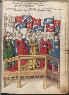 Ladies with rings / ring - Grünenberg, Konrad: Das Wappenbuch Conrads von Grünenberg, Ritters und Bürgers zu Constanz - BSB Cgm 145, [S.l.], um 1480 [BSB-Hss Cgm 145]
