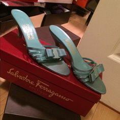 Salvatore Ferragamo  low heeled sandals Gently used turquoise sandals Salvatore Ferragamo Shoes Sandals