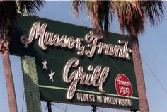Musso and Frank Grill, Hollywood, CA. M and F is the oldest eatery in Hollywood (opened in 1919). Step inside and you're stepping back in time. This is what Hollywood was in its Golden Age. Located at 6667 Hollywood Blvd, M and F is an institution. But a great one. The food is terrific (old fashioned steak house) and a landmark bar. M and F has been a hangout for celebrities from Hemingway to Chaplin to Chandler and Fairbanks. And celebrities of today. A must see (and eat) restaurant.