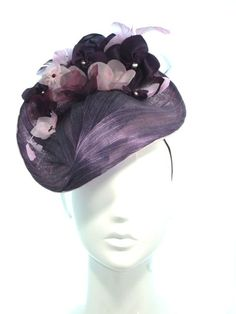 Purple draped silk abaca hat with flowers - Bonnie Evelyn Millinery