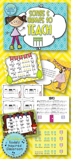 Songs and Games to Teach Sixteenth Notes- this set contains rhythm flashcards, PDF's for preparing, presenting, and practicing sixteenth notes within folk songs, and fun games to play with your students in the practice phase! #tiritiri #tikatika #takadimi #Kodaly #Orff #Musicedchat