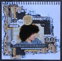 Layout: Live Life - Kaisercraft Hello Today By Cathy Cafun Scrapbook Layout Sketches, Scrapbook Designs, Scrapbooking Layouts, Baby Scrapbook, Scrapbook Pages, Heritage Scrapbooking, Page Maps, Scrapbook Embellishments, Layout Inspiration