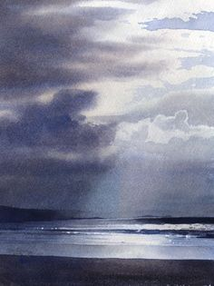 Sky above the waves, watercolour by Rob Piercy