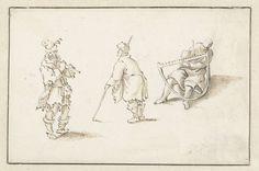 Staande fluitspeler, man met een stok en man met een zaag, Herman Saftleven, 1619 - 1685