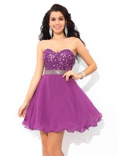 A-Line/Princess Sweetheart Beading Sleeveless Short/Mini Chiffon Cocktail Dresses JollyProm