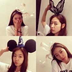 """Park Shin Hye: """"Last night, I had a great time playing with props at Rocoberry Roko's house - I liked the ones I put on my head the most. Park Shin Hye Ig, Park Shin Hye Instagram, Korean Actresses, Actors & Actresses, Korean Actors, Yong Pal, Lee Bo Young, Bridal Mask, Joo Won"""