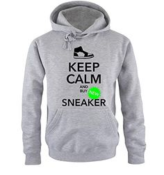 Comedy Shirts - KEEP CALM and buy SNEAKER - hombre Con capucha - gris / negro-neonverde tamaño S #camiseta #starwars #marvel #gift