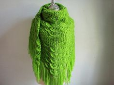 Crochet Shawl in Apple Green Color by Namaoy on Etsy, $62.00