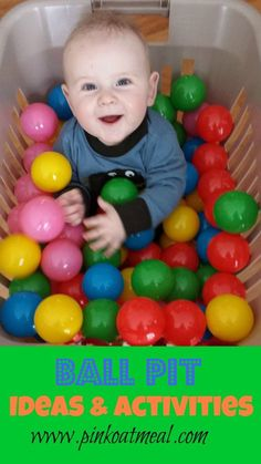 Who didn't love a ball pit and what a fun way for babies to get a new sensory experience!?!  Fun ideas on how to make a pit or utilize the balls for play!