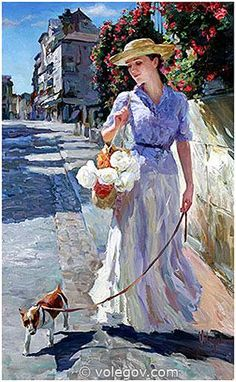 (Russia) Lady with doggie, 2005 by Vladimir Volegov (1957-  ). Oil on canvas. 76×122cm