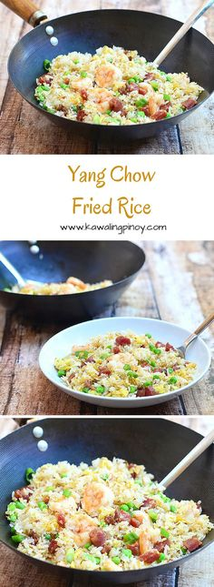 Yang Chow Fried Rice is a Chinese-style fried rice made with Chinese sausages, shrimp, green peas and green onions