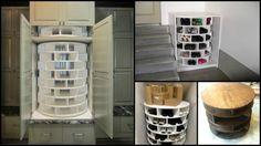 How to DIY Lazy Susan Style Shoe Storage Rack (Video) #diy, #woodworking, #shoerack, #storage
