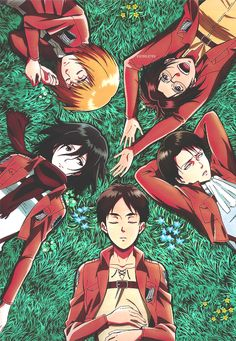 Shingeki no Kyojin | hahaha levi's just lying there like why the hell am i friends with these losers