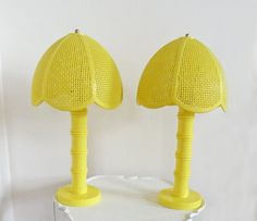 Pair Vintage Yellow Lamps Table Bedside Lamp Plastic Faux Bamboo - already own this lamp! Going in the entryway :)