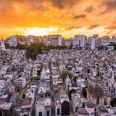 Location: Sunrise over La Recoleta Cemetery - Recoleta, Buenos Aires, Argentina.  Photo Credit: @magnumji