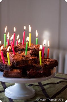 Chocolate Brownie Cake With Candles On Birthday Brownies Happy