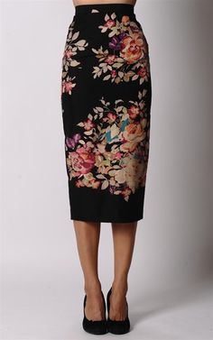 Business skirt out of floral fabric (Originally Alex Perry)